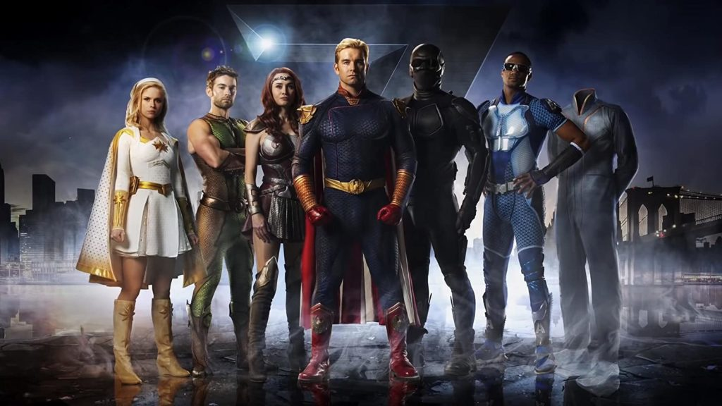 An image of the main seven actors in the series The Boys